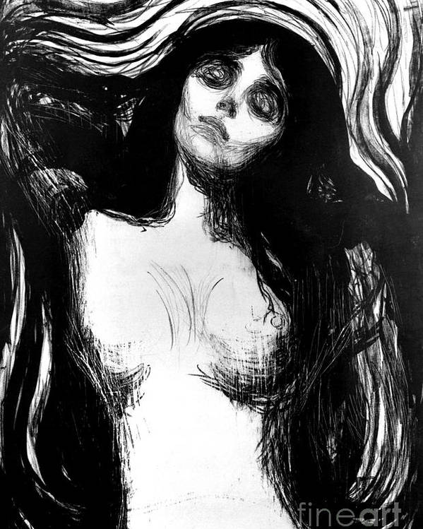 Madonna Poster featuring the painting Madonna, Lithograph By Edvard Munch Dedicated To Dr Bucher by Edvard Munch