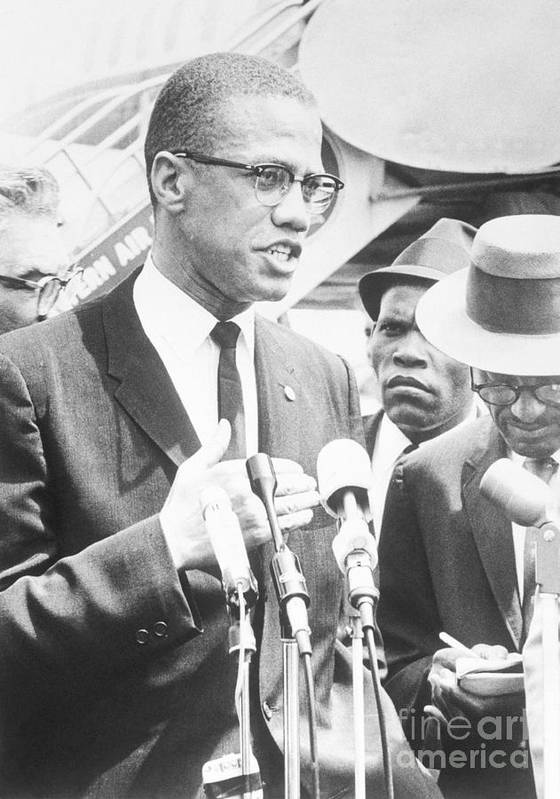 People Poster featuring the photograph Malcolm X Speaking To The Press by Bettmann