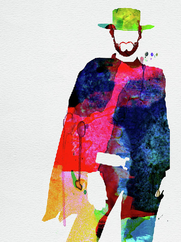Movies Poster featuring the mixed media Man With No Name Watercolor by Naxart Studio