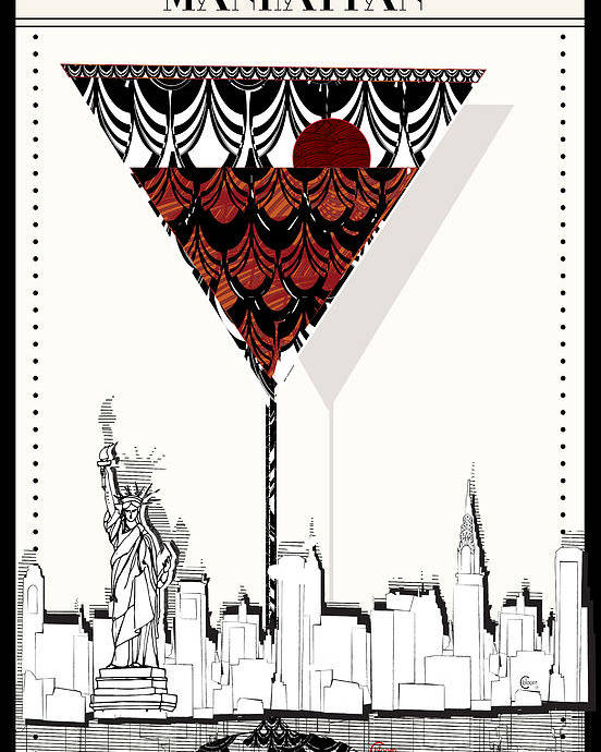 Manhattan Cocktail Pop Art Deco Poster By Cecely Bloom
