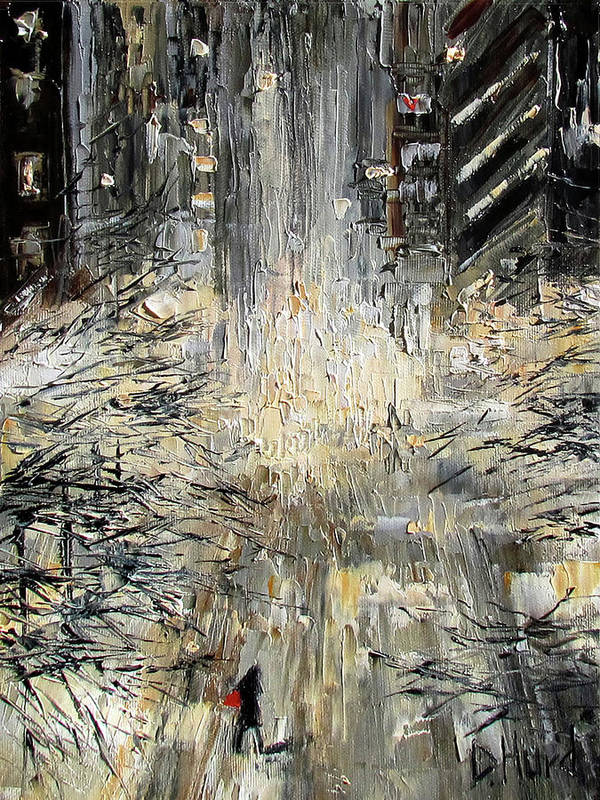 Nyc Poster featuring the painting Manhattan Snow Storm by Debra Hurd