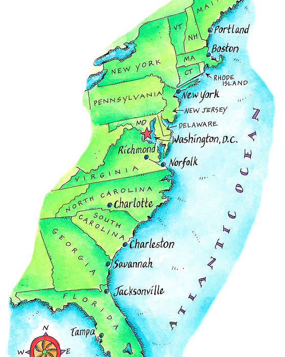 Map Of American East Coast Poster