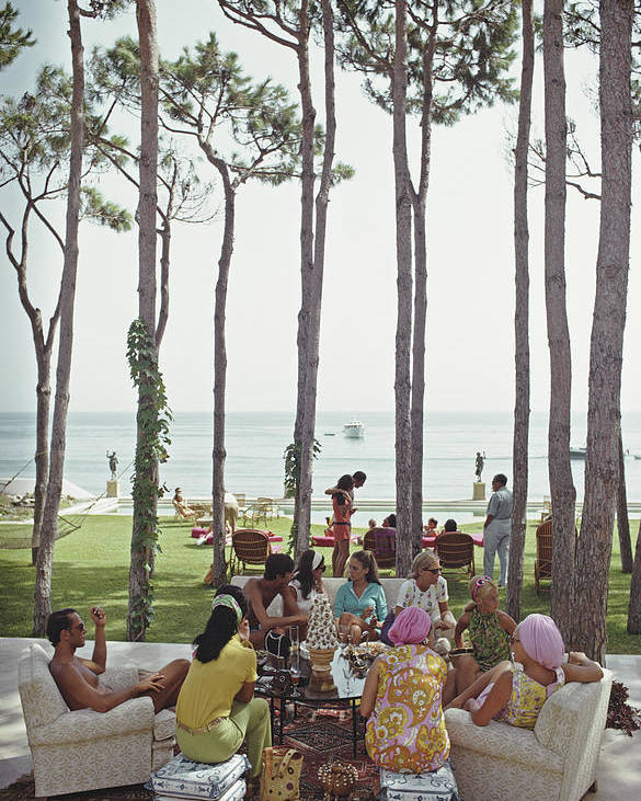 People Poster featuring the photograph Marbella House Party by Slim Aarons