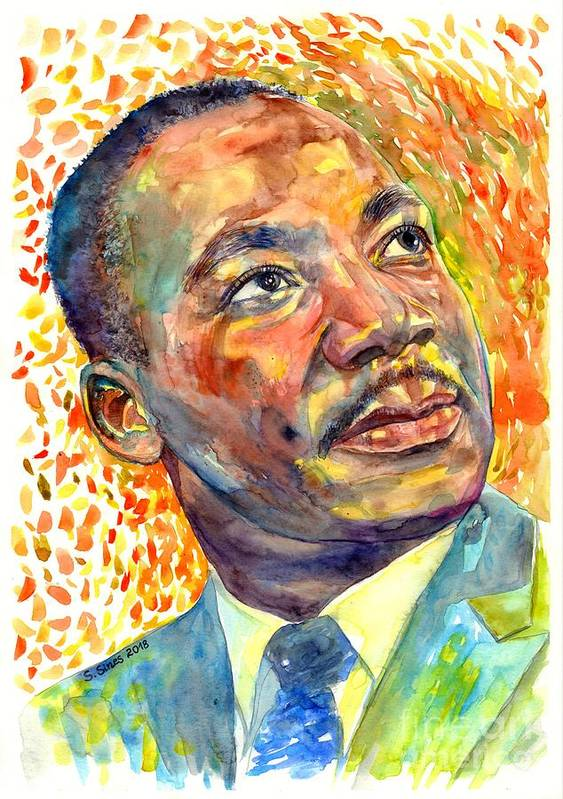 Martin Luther King Jr Poster featuring the painting Martin Luther King Jr Portrait by Suzann Sines
