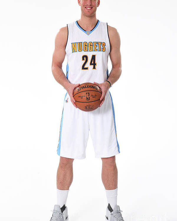 Nba Pro Basketball Poster featuring the photograph Mason Plumlee Denver Nuggets Media Day by Garrett Ellwood