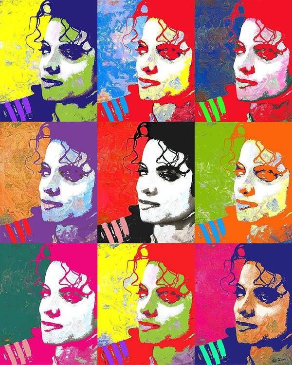 261a124ff71 Pop Poster featuring the digital art Michael Jackson Andy Warhol Style by  Linda Mears