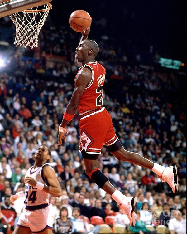 Chicago Bulls Poster featuring the photograph Michael Jordan Action Portrait by Jerry Wachter