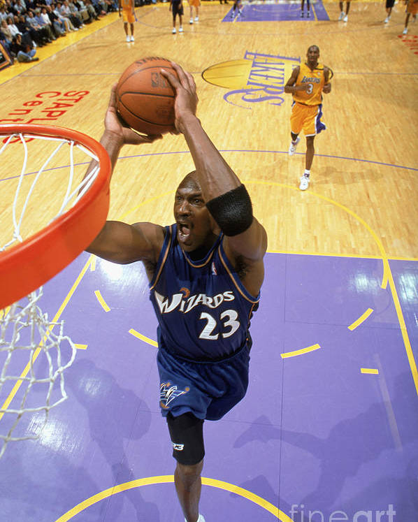 Nba Pro Basketball Poster featuring the photograph Michael Jordan Goes Up For The Dunk by Andrew D. Bernstein
