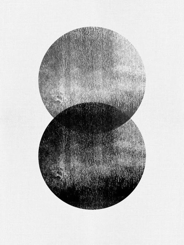 Black And White Poster featuring the mixed media Mid Century Black Circles by Naxart Studio