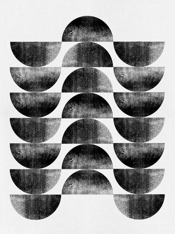 Black And White Poster featuring the mixed media Mid Century Half Moons by Naxart Studio