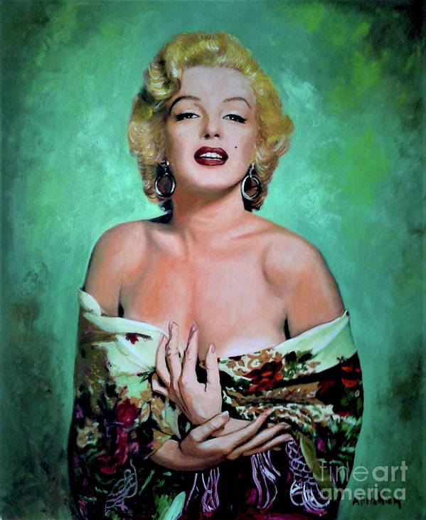 Woman Poster featuring the painting M.Monroe 4 by Jose Manuel Abraham