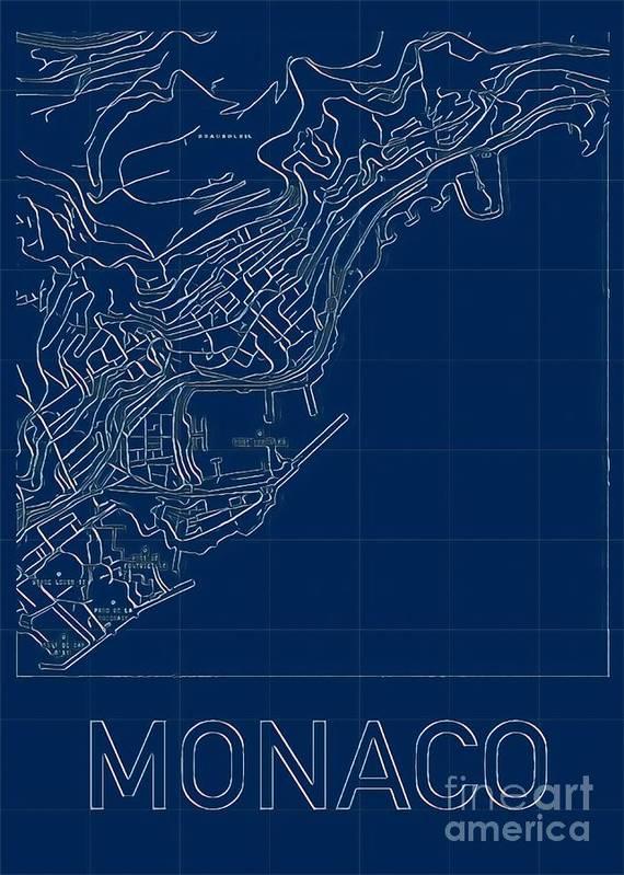 Monaco Poster featuring the digital art Monaco Blueprint City Map by HELGE Art Gallery