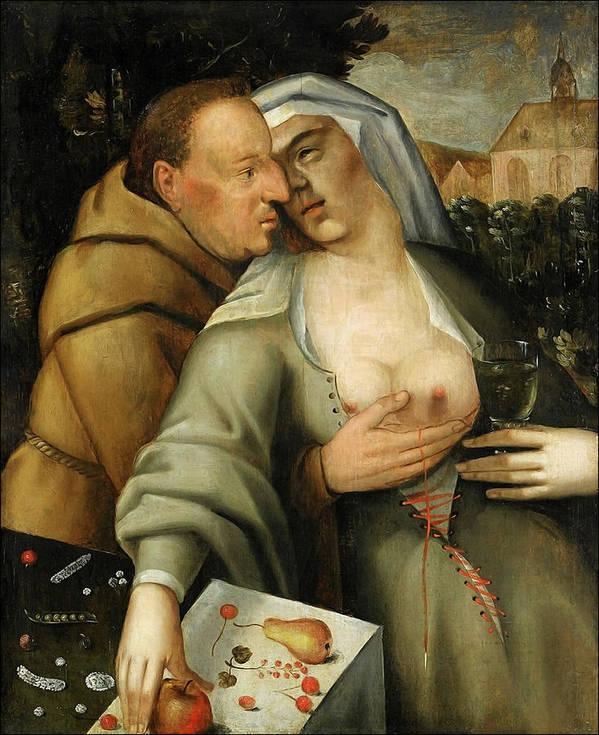 Cornelis Van Haarlem Poster featuring the painting Monk and nun embrace each other by Cornelis van Haarlem