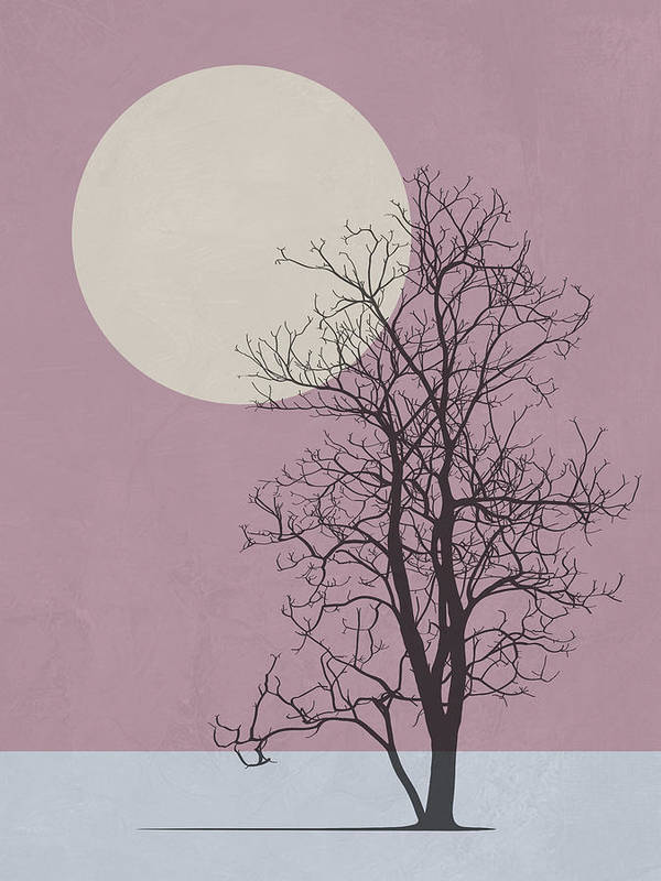 Tree Poster featuring the mixed media Morning Tree by Naxart Studio