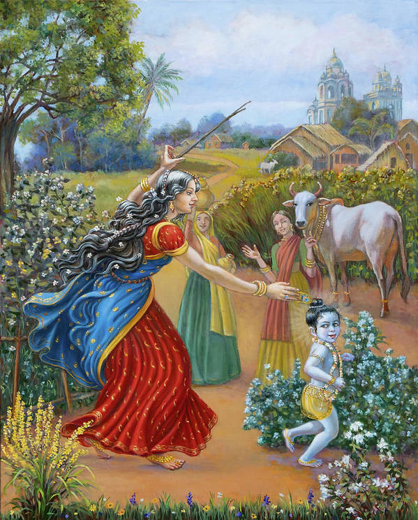 Oil Painting Poster featuring the painting Mother Yashoda Chasing Baby Krishna by Dominique Amendola