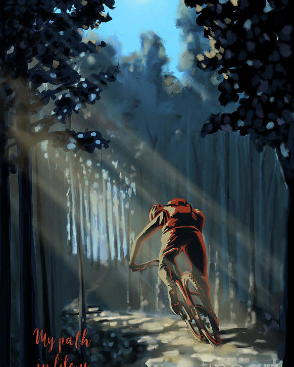 Mountainbike Art Poster featuring the painting My dirt path by Sassan Filsoof