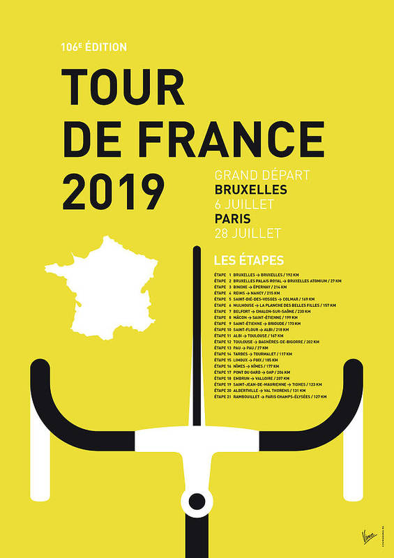 2019 Poster featuring the digital art My Tour De France Minimal Poster 2019 by Chungkong Art