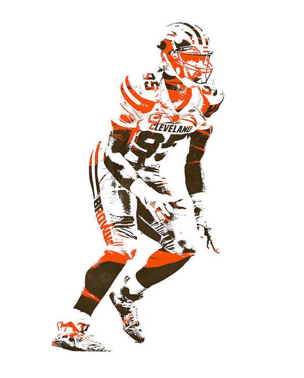 Myles Garrett Poster featuring the mixed media Myles Garrett Cleveland Browns Pixel Art 2 by Joe Hamilton