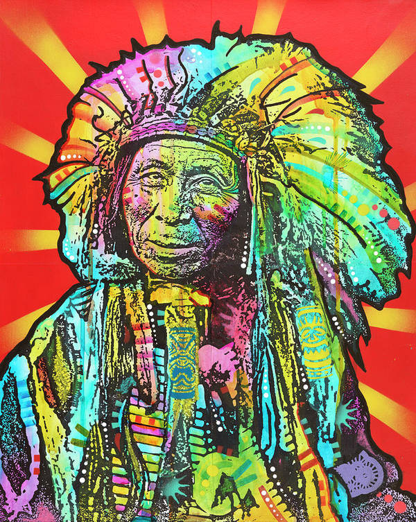 Native American I Poster featuring the mixed media Native American I by Dean Russo