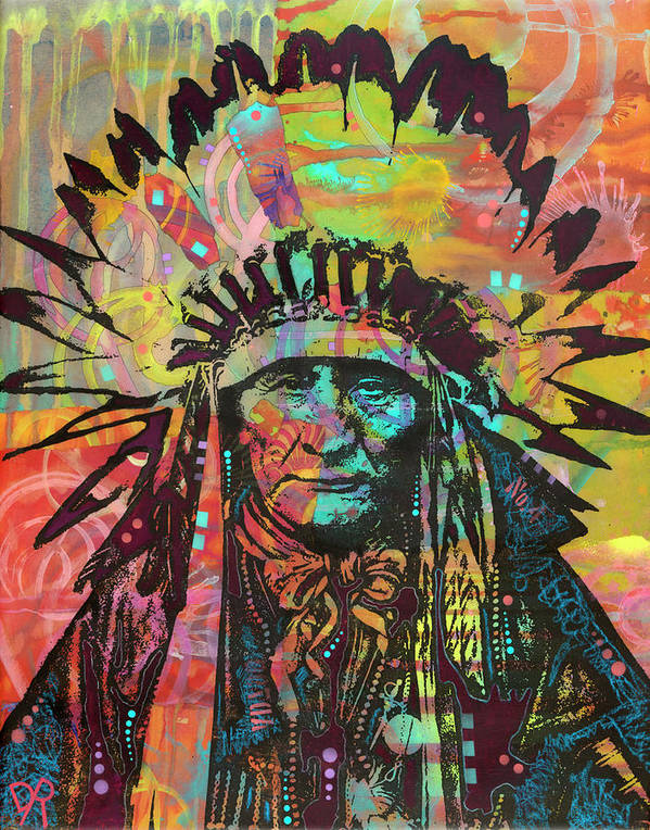 Native American Ii Poster featuring the mixed media Native American II by Dean Russo