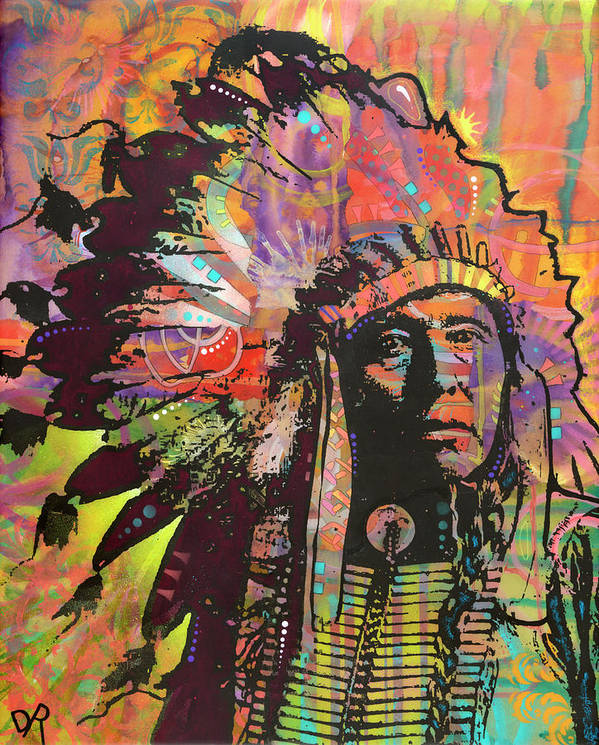 Native American Iii Poster featuring the mixed media Native American IIi by Dean Russo
