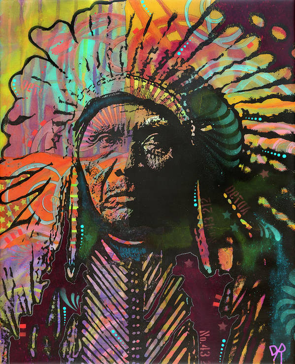 Native American Iv Poster featuring the mixed media Native American Iv by Dean Russo