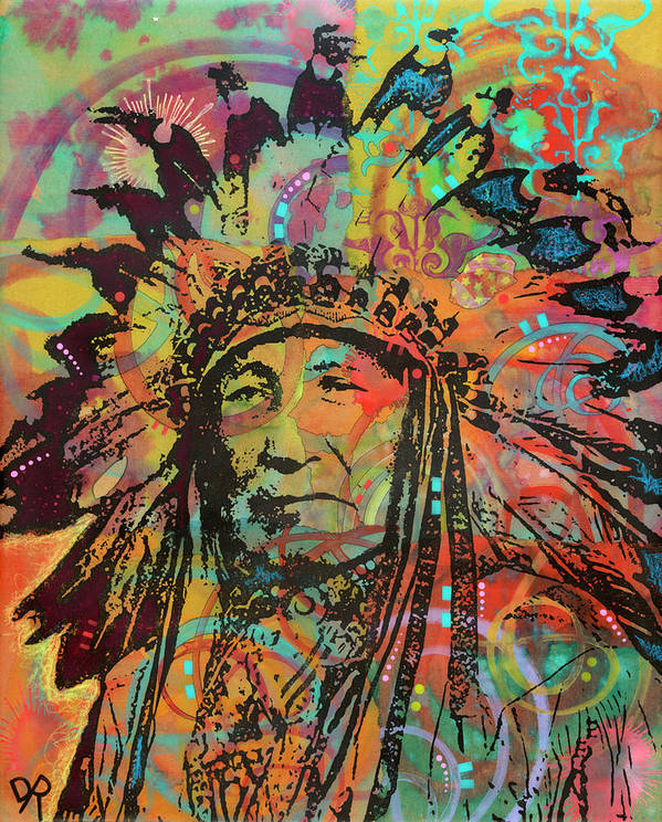 Native American V Poster featuring the mixed media Native American V by Dean Russo