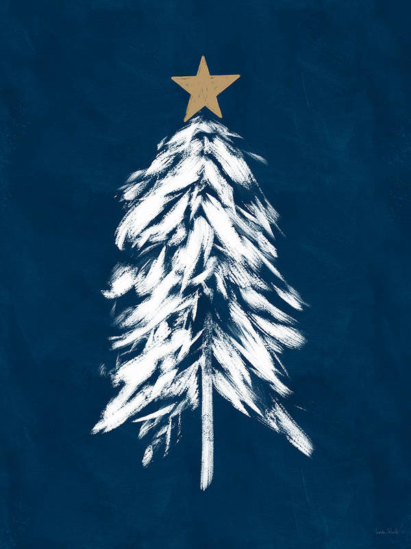 Christmas Poster featuring the mixed media Navy And White Christmas Tree 2- Art By Linda Woods by Linda Woods