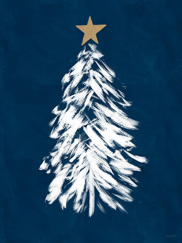 Christmas Poster featuring the mixed media Navy And White Christmas Tree 3- Art By Linda Woods by Linda Woods
