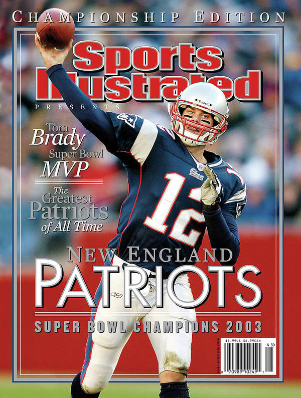 Motion Poster featuring the photograph New England Qb Tom Brady, Super Bowl Xxxviii Champions Sports Illustrated Cover by Sports Illustrated