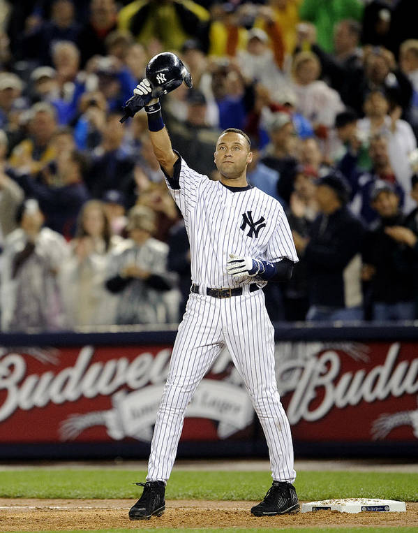People Poster featuring the photograph New York Yankees Derek Jeter Breaks Lou by New York Daily News Archive