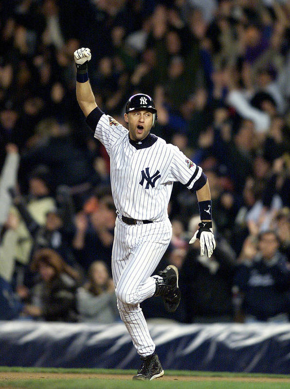 People Poster featuring the photograph New York Yankees Derek Jeter Celebrates by New York Daily News Archive