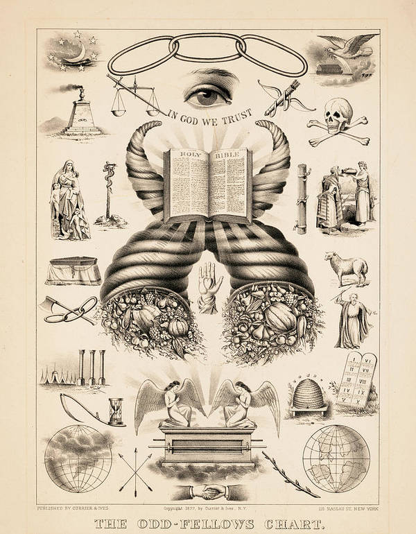 Odd-fellows Chart Poster featuring the painting Odd-fellows Chart, 1877 by American School