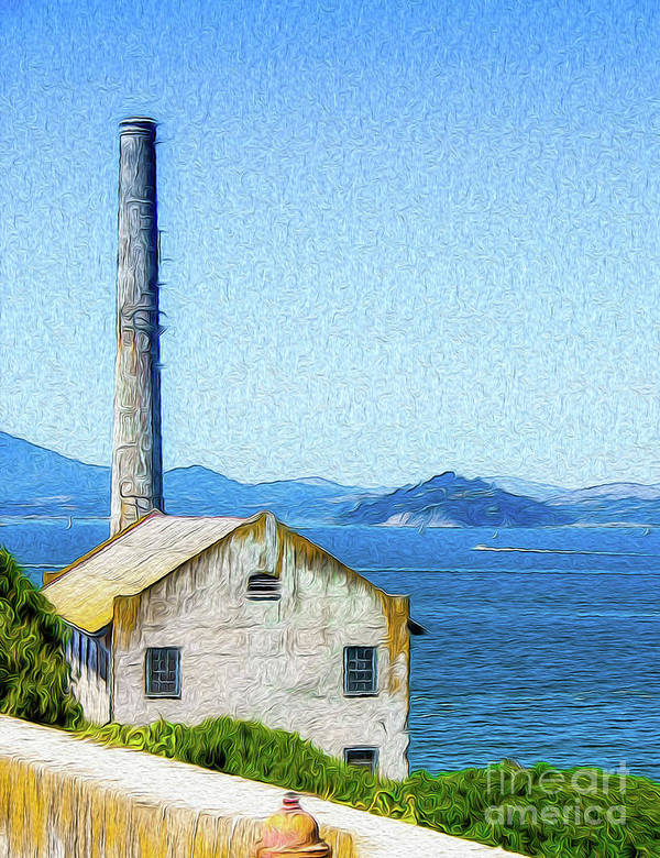San Francisco Poster featuring the digital art Old Building at Alcatraz Island Prison by Kenneth Montgomery