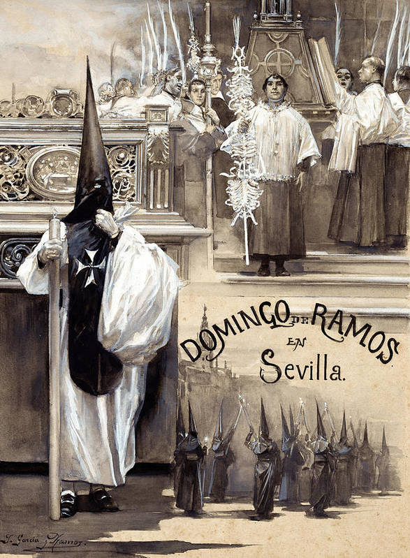 Jose Garcia Ramos Poster featuring the painting Palm Sunday In Seville by Jose Garcia Ramos