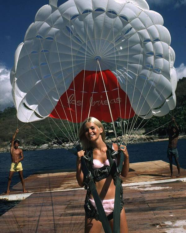 Recreational Pursuit Poster featuring the photograph Paraglider by Slim Aarons
