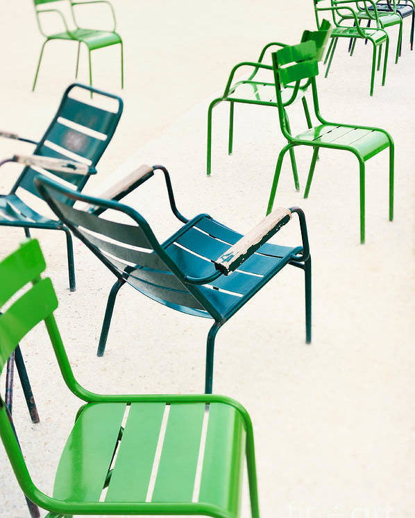 Recreational Poster featuring the photograph Parisian Metallic Chairs In The City by Anatoli Styf