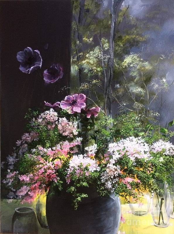 Studio Poster featuring the painting Flowers and mural - Peaceful Abundance by Lizzy Forrester