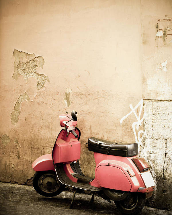 Desaturated Poster featuring the photograph Pink Scooter And Roman Wall, Rome Italy by Romaoslo