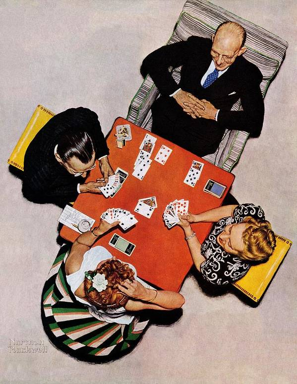 Bridge Poster featuring the drawing Playing Cards by Norman Rockwell