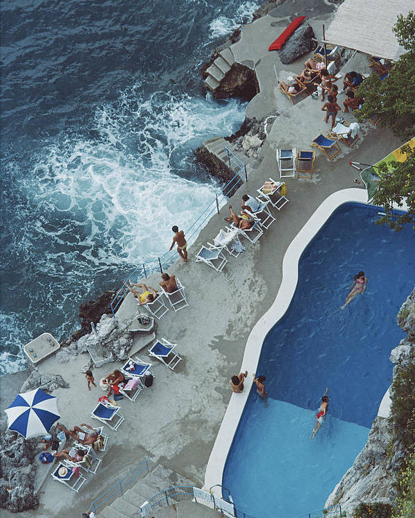 1980-1989 Poster featuring the photograph Pool On Amalfi Coast by Slim Aarons
