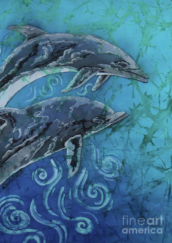 Porpoise Poster featuring the painting Porpoise Pair - Close Up by Sue Duda