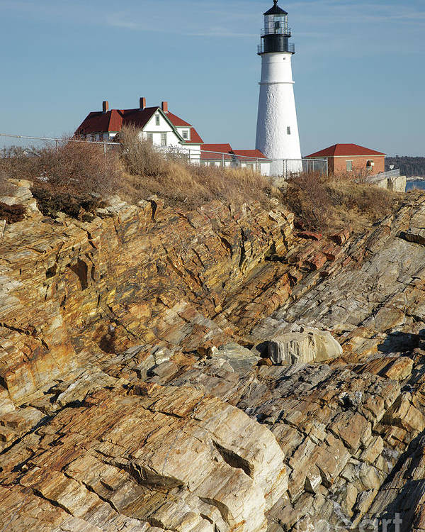 Atlantic Ocean Poster featuring the photograph Portland Head Light - Cape Elizabeth Maine by Erin Paul Donovan
