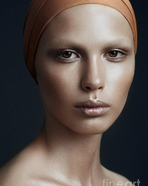 Makeup Poster featuring the photograph Portrait Of A Beautiful Girl With A by Yuliya Yafimik