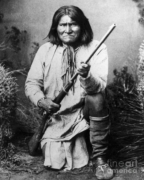 Rifle Poster featuring the photograph Portrait Of Apache Chief Geronimo by Bettmann