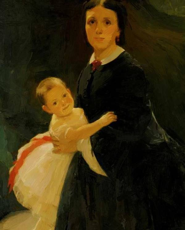 Portrait Poster featuring the painting Portrait Of Shestova With Daughter by Ge Nikolai
