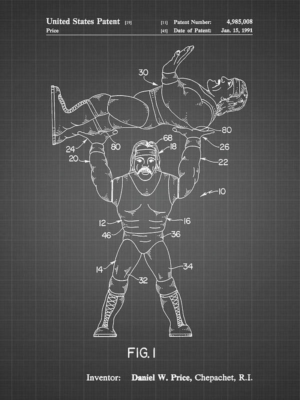 Pp885-black Grid Hulk Hogan Wrestling Action Figure Patent Poster Poster featuring the digital art Pp885-black Grid Hulk Hogan Wrestling Action Figure Patent Poster by Cole Borders