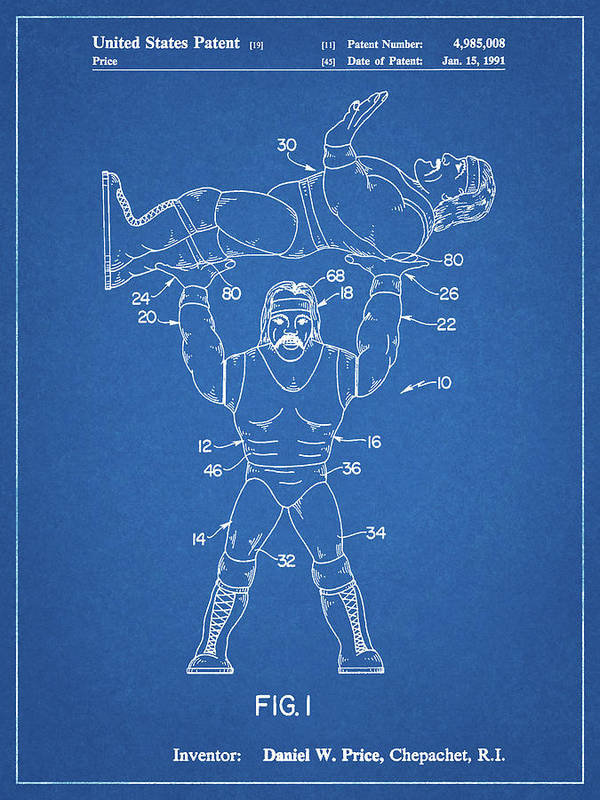 Pp885-blueprint Hulk Hogan Wrestling Action Figure Patent Poster Poster featuring the digital art Pp885-blueprint Hulk Hogan Wrestling Action Figure Patent Poster by Cole Borders