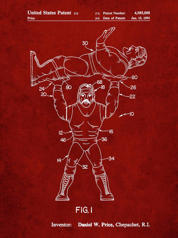 Pp885-burgundy Hulk Hogan Wrestling Action Figure Patent Poster Poster featuring the digital art Pp885-burgundy Hulk Hogan Wrestling Action Figure Patent Poster by Cole Borders