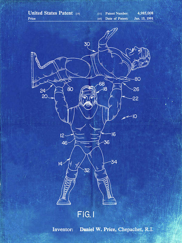 Pp885-faded Blueprint Hulk Hogan Wrestling Action Figure Patent Poster Poster featuring the digital art Pp885-faded Blueprint Hulk Hogan Wrestling Action Figure Patent Poster by Cole Borders